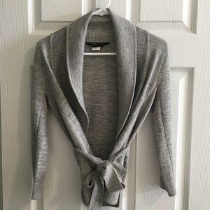 BCBGMaxAzria 3/4 Sleeve Gray Wrap Sweater